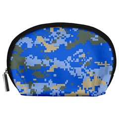 Oceanic Camouflage Blue Grey Map Accessory Pouches (large)  by Mariart