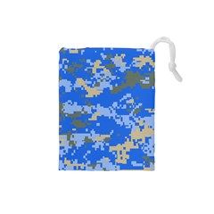 Oceanic Camouflage Blue Grey Map Drawstring Pouches (small)  by Mariart