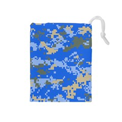 Oceanic Camouflage Blue Grey Map Drawstring Pouches (medium)  by Mariart
