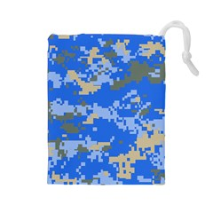 Oceanic Camouflage Blue Grey Map Drawstring Pouches (large)  by Mariart