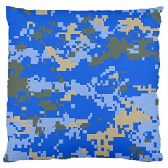 Oceanic Camouflage Blue Grey Map Large Flano Cushion Case (one Side) by Mariart