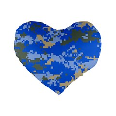 Oceanic Camouflage Blue Grey Map Standard 16  Premium Flano Heart Shape Cushions by Mariart