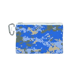 Oceanic Camouflage Blue Grey Map Canvas Cosmetic Bag (s) by Mariart