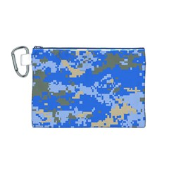 Oceanic Camouflage Blue Grey Map Canvas Cosmetic Bag (m) by Mariart