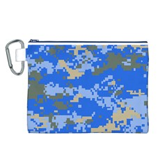 Oceanic Camouflage Blue Grey Map Canvas Cosmetic Bag (l) by Mariart