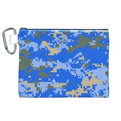 Oceanic Camouflage Blue Grey Map Canvas Cosmetic Bag (xl) by Mariart