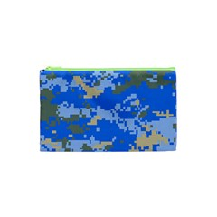Oceanic Camouflage Blue Grey Map Cosmetic Bag (xs) by Mariart