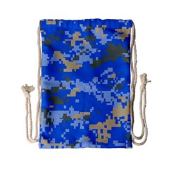 Oceanic Camouflage Blue Grey Map Drawstring Bag (small) by Mariart
