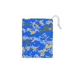 Oceanic Camouflage Blue Grey Map Drawstring Pouches (xs)  by Mariart
