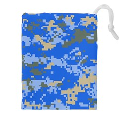 Oceanic Camouflage Blue Grey Map Drawstring Pouches (xxl) by Mariart