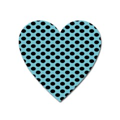 Polka Dot Blue Black Heart Magnet by Mariart