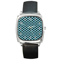 Polka Dot Blue Black Square Metal Watch by Mariart
