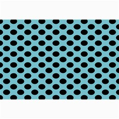 Polka Dot Blue Black Canvas 12  X 18   by Mariart