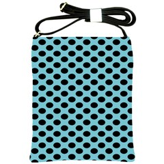 Polka Dot Blue Black Shoulder Sling Bags by Mariart