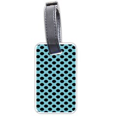 Polka Dot Blue Black Luggage Tags (two Sides) by Mariart