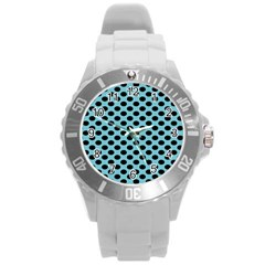 Polka Dot Blue Black Round Plastic Sport Watch (l) by Mariart