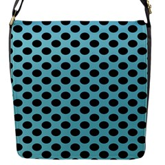Polka Dot Blue Black Flap Messenger Bag (s) by Mariart