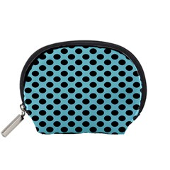 Polka Dot Blue Black Accessory Pouches (small)  by Mariart
