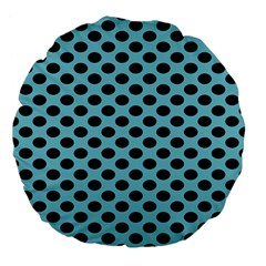 Polka Dot Blue Black Large 18  Premium Flano Round Cushions by Mariart