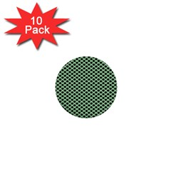 Polka Dot Green Black 1  Mini Buttons (10 Pack)  by Mariart