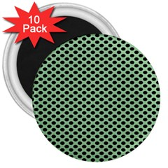 Polka Dot Green Black 3  Magnets (10 Pack)  by Mariart