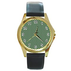 Polka Dot Green Black Round Gold Metal Watch by Mariart