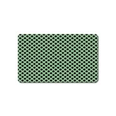 Polka Dot Green Black Magnet (name Card) by Mariart