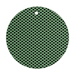 Polka Dot Green Black Round Ornament (two Sides) by Mariart