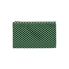 Polka Dot Green Black Cosmetic Bag (small)  by Mariart