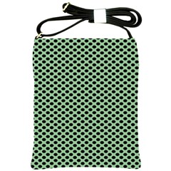 Polka Dot Green Black Shoulder Sling Bags by Mariart