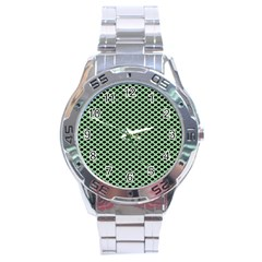 Polka Dot Green Black Stainless Steel Analogue Watch by Mariart