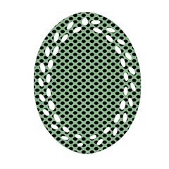 Polka Dot Green Black Oval Filigree Ornament (two Sides) by Mariart