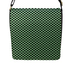 Polka Dot Green Black Flap Messenger Bag (l)  by Mariart