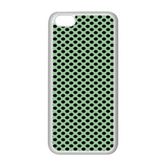 Polka Dot Green Black Apple Iphone 5c Seamless Case (white)