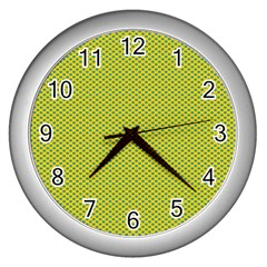 Polka Dot Green Yellow Wall Clocks (silver)  by Mariart