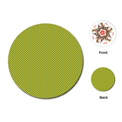Polka Dot Green Yellow Playing Cards (round)  by Mariart