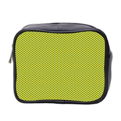 Polka Dot Green Yellow Mini Toiletries Bag 2 Side by Mariart