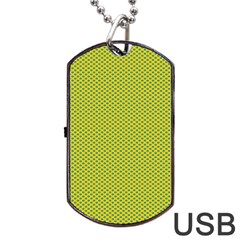 Polka Dot Green Yellow Dog Tag Usb Flash (one Side) by Mariart