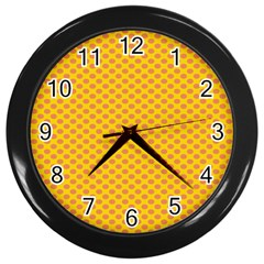 Polka Dot Orange Yellow Wall Clocks (black) by Mariart