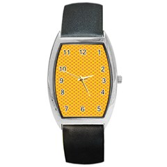 Polka Dot Orange Yellow Barrel Style Metal Watch by Mariart