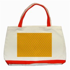 Polka Dot Orange Yellow Classic Tote Bag (red) by Mariart