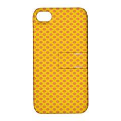 Polka Dot Orange Yellow Apple Iphone 4/4s Hardshell Case With Stand by Mariart