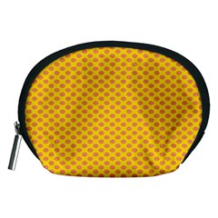 Polka Dot Orange Yellow Accessory Pouches (medium)  by Mariart