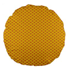 Polka Dot Orange Yellow Large 18  Premium Flano Round Cushions by Mariart