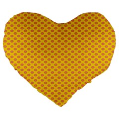 Polka Dot Orange Yellow Large 19  Premium Flano Heart Shape Cushions by Mariart