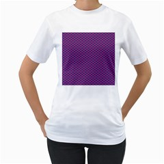 Polka Dot Purple Blue Women s T Shirt (white) (two Sided) by Mariart
