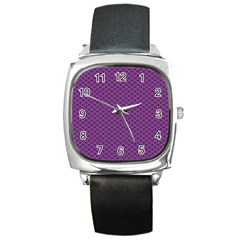 Polka Dot Purple Blue Square Metal Watch by Mariart
