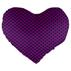 Polka Dot Purple Blue Large 19  Premium Heart Shape Cushions by Mariart