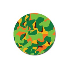 Initial Camouflage Green Orange Yellow Magnet 3  (round) by Mariart