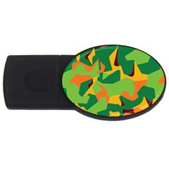 Initial Camouflage Green Orange Yellow Usb Flash Drive Oval (2 Gb) by Mariart